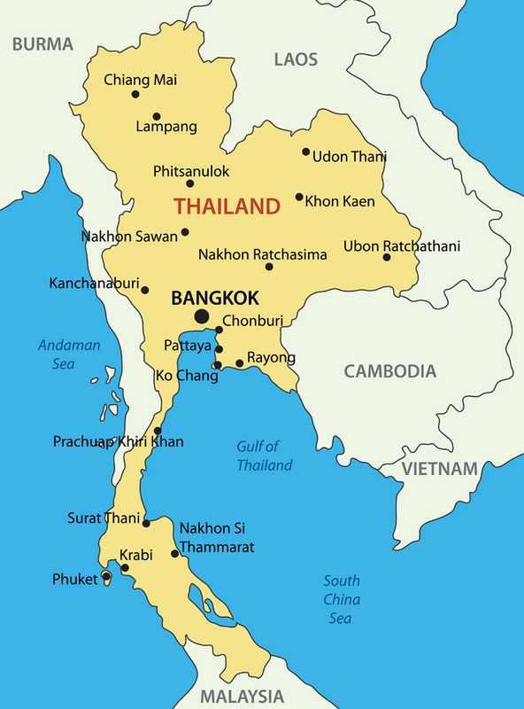 mapa da tailandia